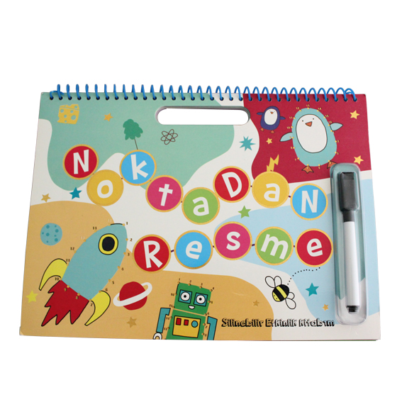 Educational Painting Book Custom Wipe Clean Children Board Book with Pen